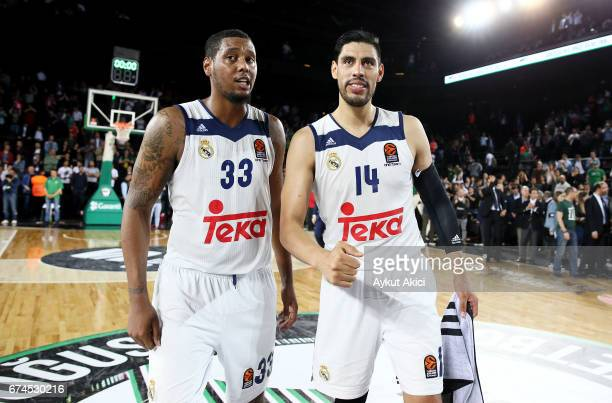 Gustavo Ayon Trey Thompinks celebrates victory in action during the 2016/2017 Turkish Airlines EuroLeague Playoffs leg 4 game between Darussafaka...