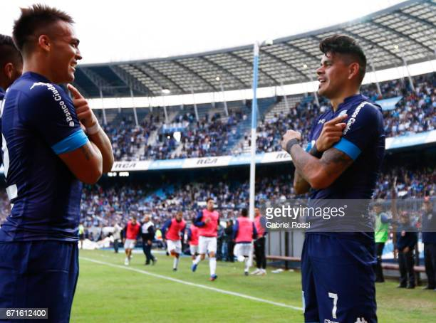 Gustavo Bou celebrates with Lautaro Martinez his score the third of his team during a match between Racing and Atletico de Tucuman as part of Torneo...
