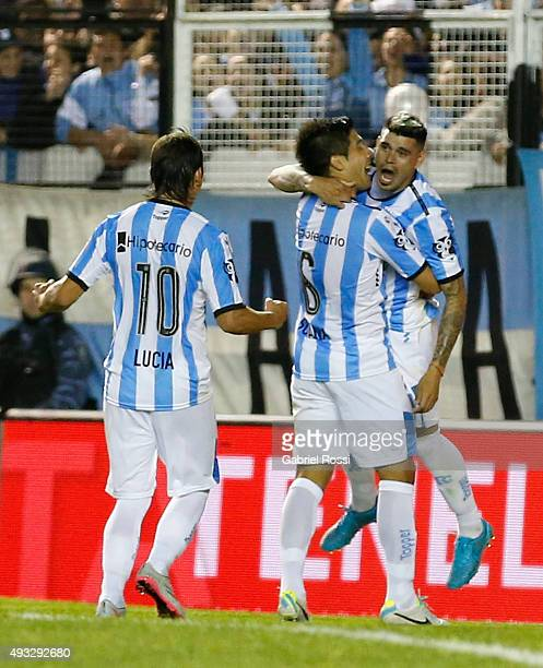 Gustavo Bou of Racing Club and teammates celebrate their team's second goal during a match between Racing Club and Boca Juniors as part of round 28...