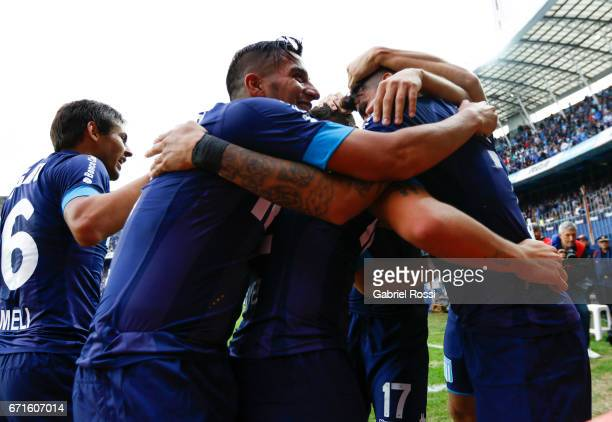 Gustavo Bou of Racing Club calebrates with his temmates after scoring the third goal of his team during a match between Racing and Atletico de...