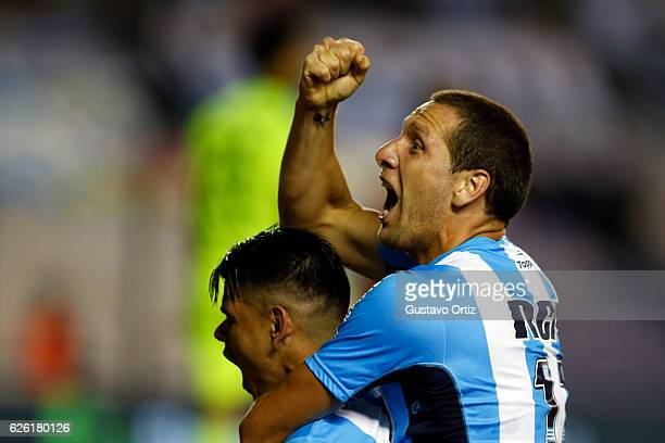 Gustavo Bou of Racing Club celebrates after scoring the second goal of his team during a match between Racing Club and Independiente as part of...