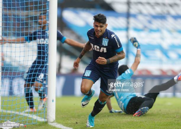 Gustavo Bou of Racing Club celebrates after scoring the third goal of his team during a match between Racing and Atletico de Tucuman as part of...