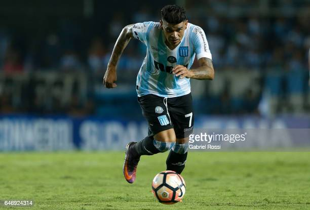 Gustavo Bou of Racing Club drives the ball during a first leg match between Racing and Rionegro Aguilas as part of first round of Copa Conmebol...