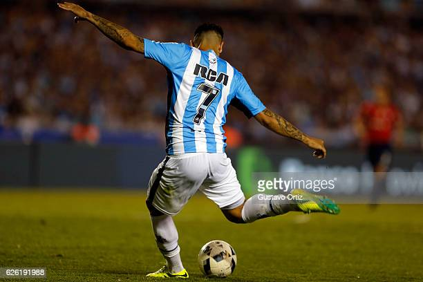 Gustavo Bou of Racing Club shots to score the second goal of his team during a match between Racing Club and Independiente as part of Torneo Primera...