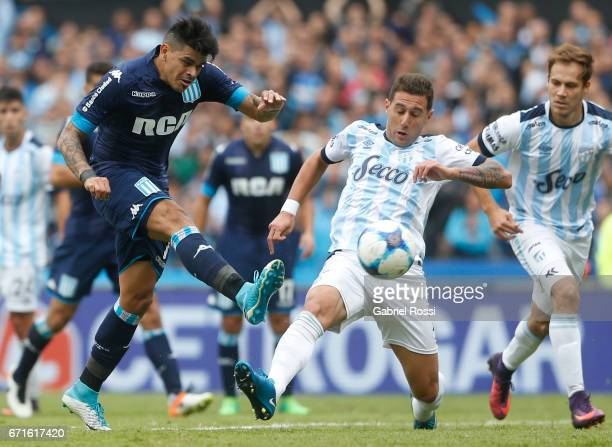 Gustavo Bou of Racing Club takes a shot during a match between Racing and Atletico de Tucuman as part of Torneo Primera Division 2016/17 at...