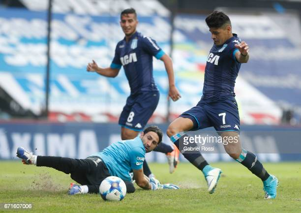 Gustavo Bou of Racing Club takes a shot to score the third goal of his team during a match between Racing and Atletico de Tucuman as part of Torneo...