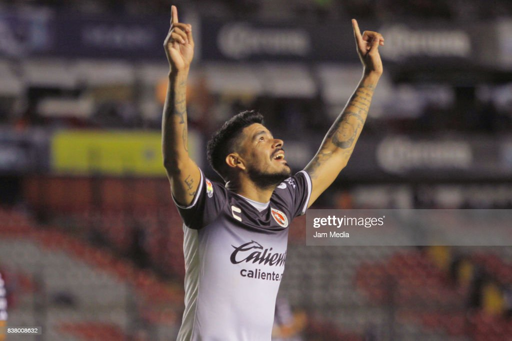 Gustavo Bou of Tijuana celebrates after scoring his team's third goal during the 6th round match between Queretaro and Tijuana as part of the Torneo Apertura 2017 Liga MX at La Corregidora Stadium on August 22, 2017 in Queretaro, Mexico.
