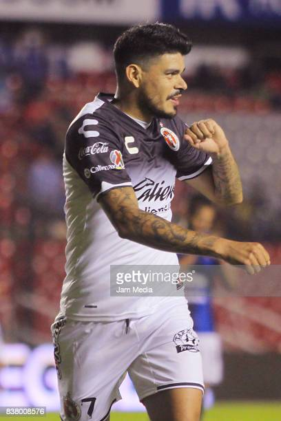 Gustavo Bou of Tijuana celebrates after scoring the third goal of his team during the sixth round match between Queretaro and Tijuana as part of the...