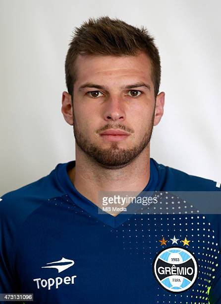 Gustavo Busatto of Gremio FootBall Porto Alegrense poses during a portrait session on August 14 2014 in Porto AlegreBrazil