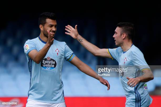Gustavo Cabral defender of Celta de Vigo and Iago Aspas forward of Celta de Vigo reacts during the La Liga Santander match between Celta de Vigo and...