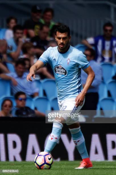 Gustavo Cabral defender of Celta de Vigo drives the ball during the La Liga Santander match between Celta de Vigo and Real Sociedad de Futbol at...