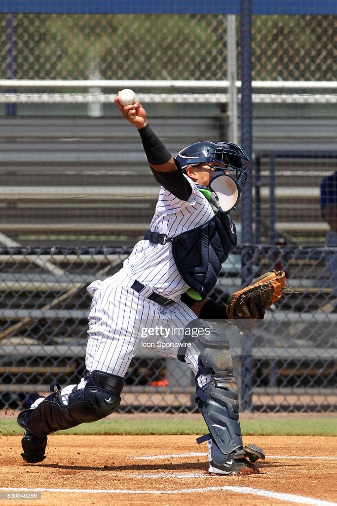 Gustavo Campero of the Yankees throws the ball down to second base during the Gulf Coast League game between the Blue Jays and the Yankees on August 11, 2017, at the New York Yankees Minor League Complex in Tampa, FL.