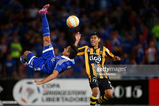 Gustavo Canales of Universidad de Chile attempts to score during a group 4 match between U de Chile and The Strongest as part of group stage Copa...