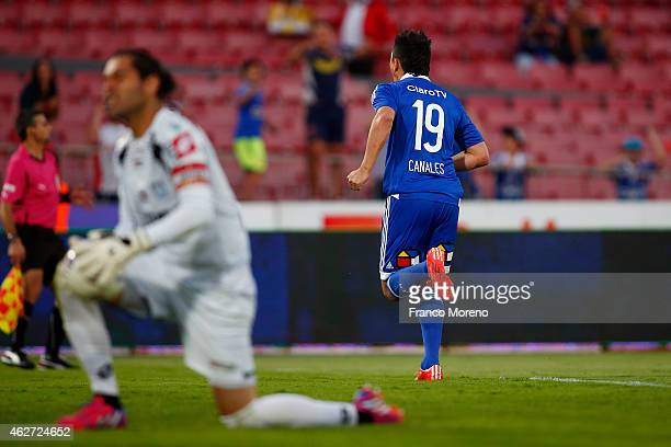 Gustavo Canales of Universidad de Chile celebrates the first goal against Deportes Iquique during a match between Universidad de Chile and Deportes...