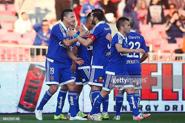 Gustavo Canales of Universidad de Chile celebrates the opening goal during a match between U de Chile and San Luis as a part of third round of Torneo...