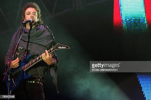 Gustavo Cerati leader of Argentina's rock band Soda Stereo performs during the band 'Me veras volver' tour at the National Stadium in Lima 08...