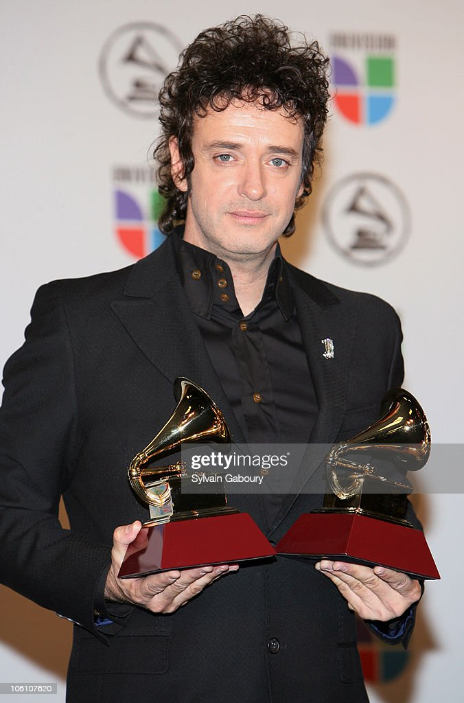 Gustavo Cerati, winner Best Rock Song for 'Crimen,' and winner Best Rock Solo Vocal Album for 'Ahi Vamos'