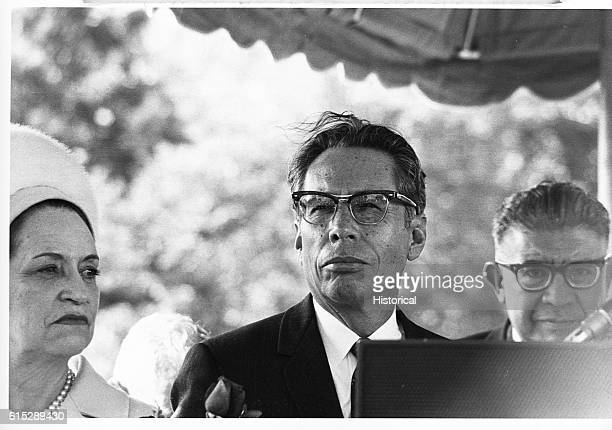 Gustavo Diaz Ordaz stands with a man and woman Diaz Ordaz was a Mexican senator who became president and later ambassador to Spain