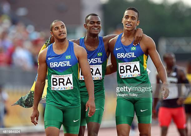 Gustavo Dos Santos Vitor Hugo Dos Santos and Aldemir Da Silva Junior of Brazil celebrate winning Silver in the Men's 4x100m Final during Day 15 of...