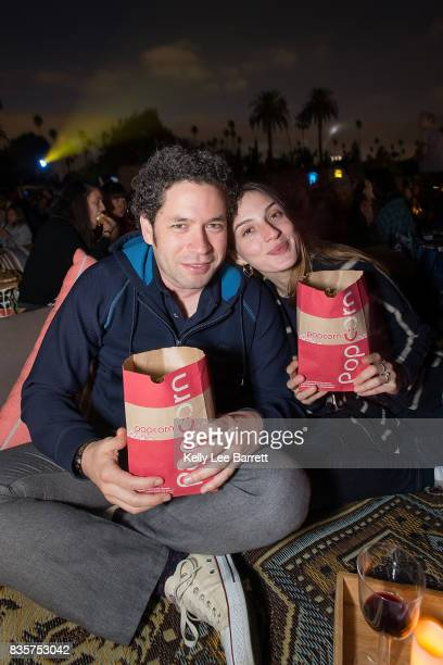 Gustavo Dudamel and Maria Valverde attend Cinespia's screening of 'Some Like It Hot' held at Hollywood Forever on August 19 2017 in Hollywood...