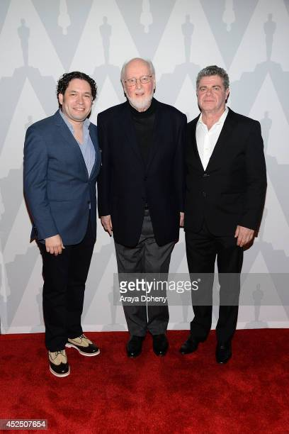 Gustavo Dudamel John Williams and Gustavo Santaolalla attend The Academy Presents 'Behind The Score The Art Of The Film Composer' at Bing Theatre At...