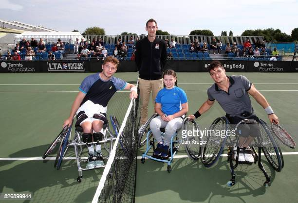 Gustavo Fernandez of Argentina and Alfie Hewett of Great Britain poses ahead of their British Open Wheelchair Tennis mens singles final match at The...