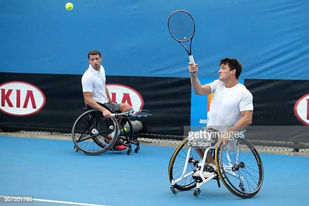 Gustavo Fernandez of Argentina and Joachim Gerard of Belgium during their Men's Wheelchair Doubles Semifinals match against Gordon Reid of Great...