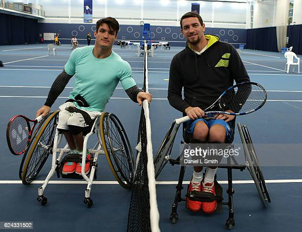 Gustavo Fernandez of Argentina and Joachim Gerard of Belgium pose for their photograph ahead of their men's Singles Final match during the Bath...