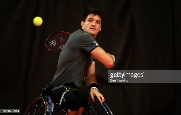 Gustavo Fernandez of Argentina celebrates winning a point during his match against Joachim Gerard of Belgium on day 2 of The NEC Wheelchair Tennis...