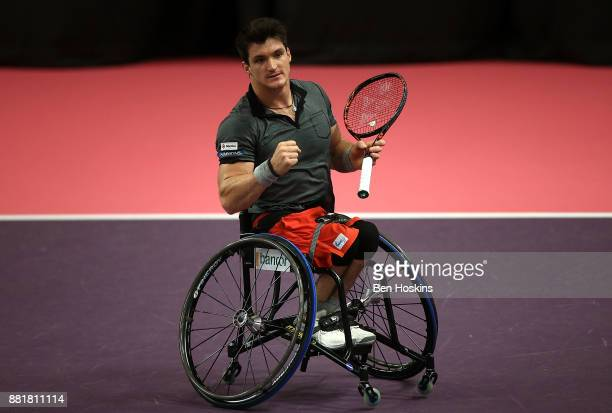 Gustavo Fernandez of Argentina celebrates winning his first round match against Nicolas Peifer of France on Day 1 of the NEC Wheelchair Tennis...