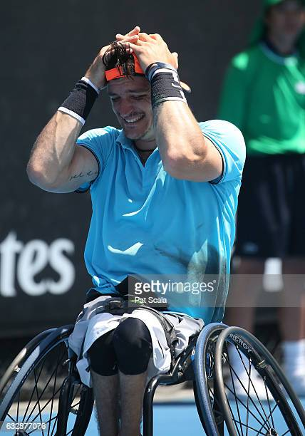 Gustavo Fernandez of Argentina celebrates winning match point in the Wheelchair Singles Final match against Nicolas Peifer of France during the...