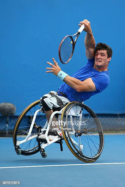 Gustavo Fernandez of Argentina competes in his first round match against Adam Kellerman of Australia during the Australian Open 2016 Wheelchair...