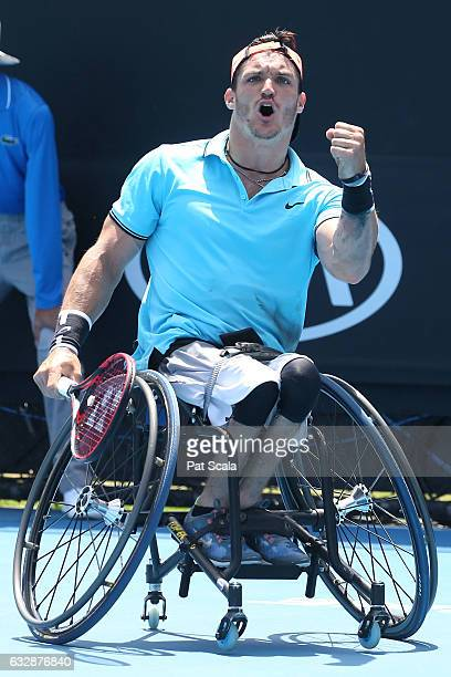 Gustavo Fernandez of Argentina competes in the Wheelchair Singles Final match against Nicolas Peifer of France during the Australian Open 2017...