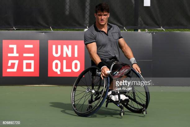 Gustavo Fernandez of Argentina in action against Alfie Hewett of Great Britain during the British Open Wheelchair Tennis mens singles final match at...