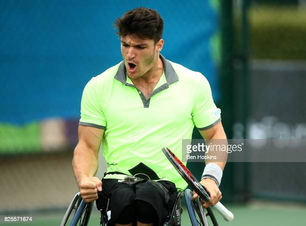 Gustavo Fernandez of Argentina in action during his match against Evans Maripa of South Africa on day two of the British Open Wheelchair Tennis on...