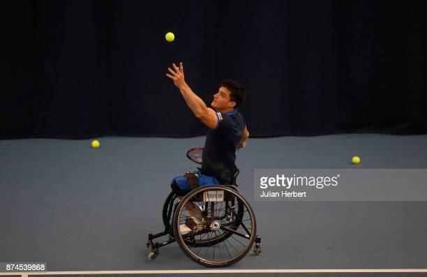 Gustavo Fernandez of Argentina in action during The Bath Indoor Wheelchair Tennis Tournament on November 15 2017 in Bath England