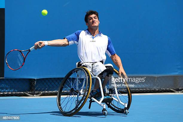 Gustavo Fernandez of Argentina in action in his match against Shingo Kunieda of Japan in Men's Wheelchair Singles Semifinals during the Australian...