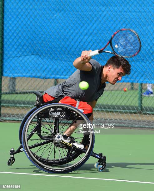Gustavo Fernandez of Argentina in action in his semi final Mens Singles match against Stephane Houdet of France during the British Open Wheelchair...