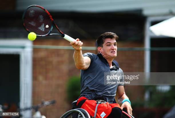Gustavo Fernandez of Argentina plays a forehand during his match against Alfie Hewett of Great Britain during day one of the Surbiton Wheelchair...