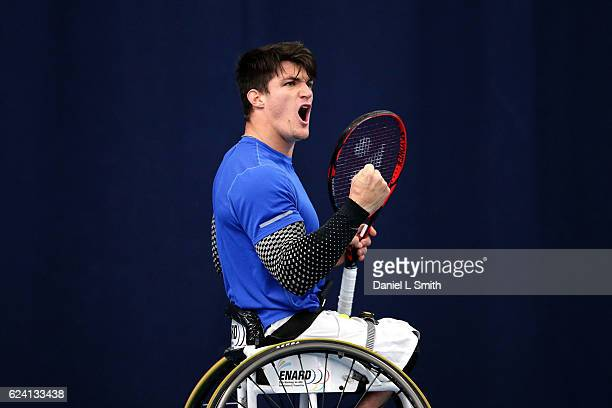 Gustavo Fernandez of Argentina reacts during his men's singles Semi Final match against Alfie Hewett of Great Britain during the Bath Indoors...