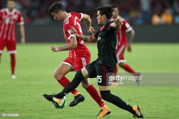 Gustavo Gomez of AC Milan in action against Robert Lewandowski of FC Bayern Muenchen during the 2017 International Champions Cup football match...