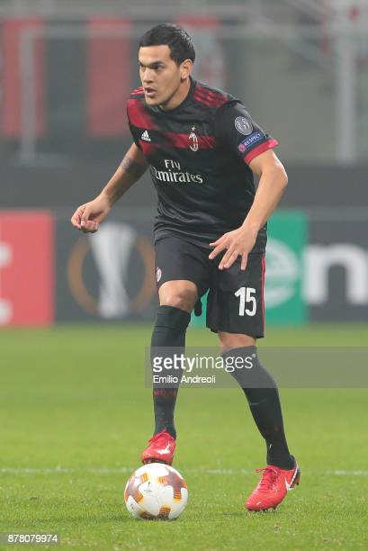 Gustavo Gomez of AC Milan in action during the UEFA Europa League group D match between AC Milan and Austria Wien at Stadio Giuseppe Meazza on...