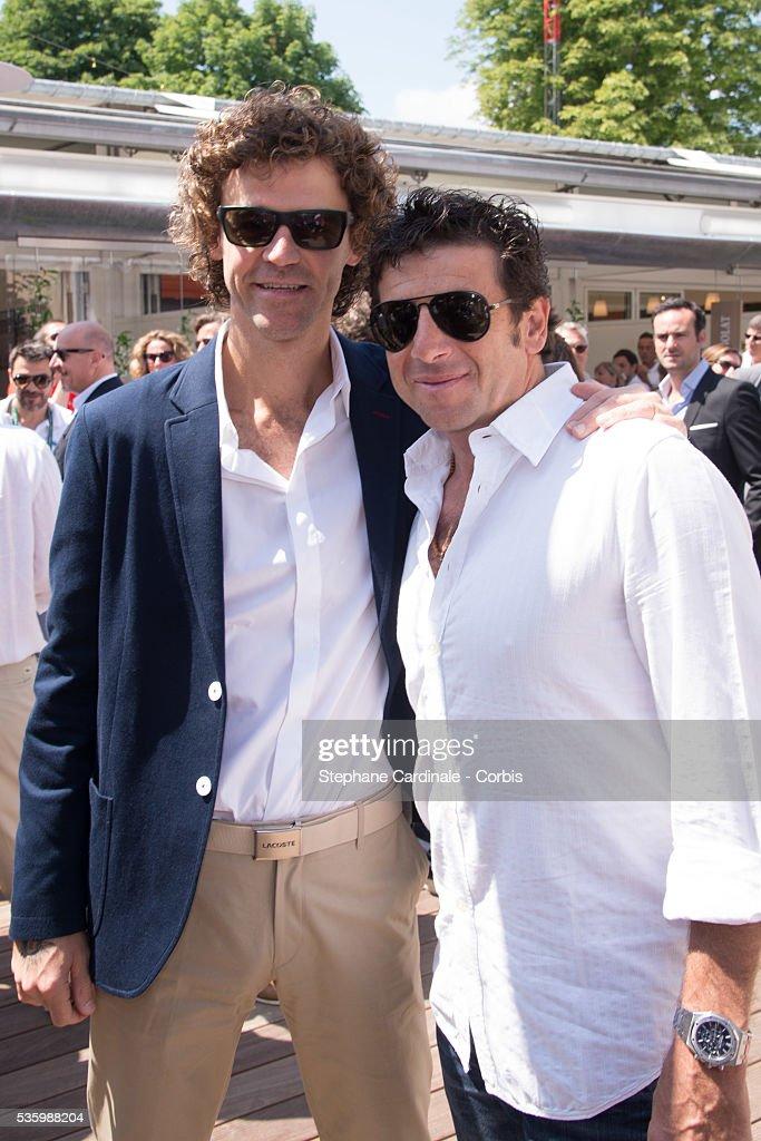 Gustavo Kuerten and Patrick Bruel attend the Roland Garros French Tennis Open 2014.