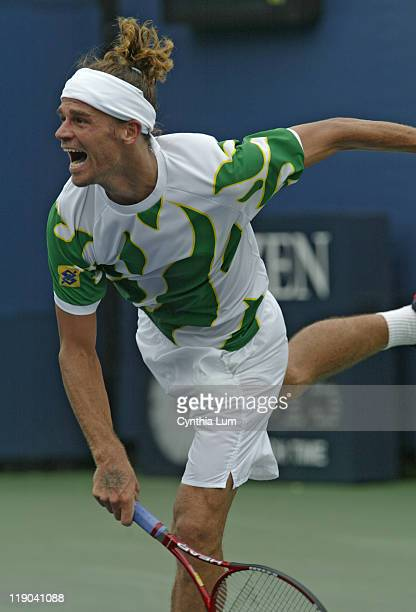 Gustavo Kuerten during his Match against Paul Goldstein during the first round of the 2005 US Open at the National Tennis Center in Flushing New York...