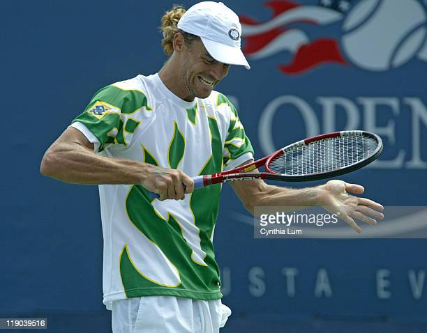 Gustavo Kuerten during his match against Tommy Robredo in the second round of the 2005 US Open at the USTA National Tennis Center in Flushing New...