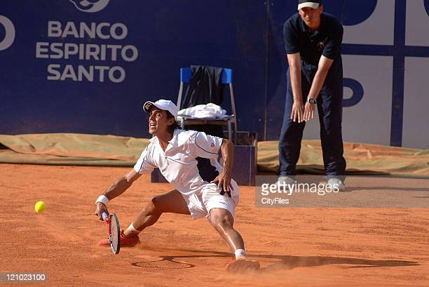 Gustavo Marcaccio of Argentina in action during his loss to Carlos Moya 16 57 in the second round of the Estoril Open 2006 at the Estadio Nacional in...