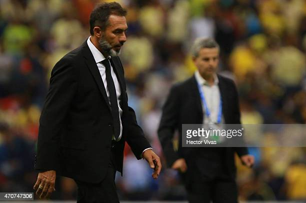 Gustavo Matosas Head Coach of America looks on during a Championship first leg match between America and Montreal Impact as part of CONCACAF...