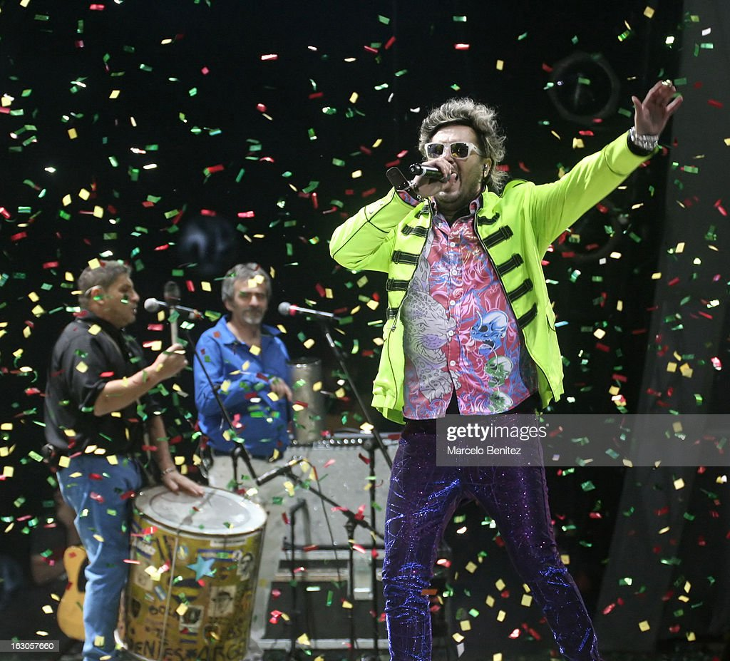 "Gustavo Parisi singer of ""Autenticos Decadentes"" performs at the stage of the Quinta Vergara during the 53rd International Festival of Song of Viña del Mar on March 01, 2013 in Vina del Mar, Chile."