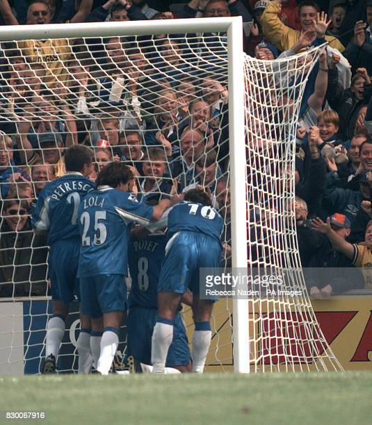 FEATURE Gustavo Poyet is congratulated by team mates Dan Petrescu Gianfranco Zola and Pierluigi Casiraghi after scoring Chelsea's 2nd goal during...