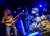 Guthrie Govan and Marco Minneman of The Aristocrats perform on stage at the Assembly on February 19 2014 in Leamington Spa United Kingdom